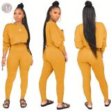 9082725 good quality solid candy color long sleeve crop top pocket high waist ladies pants 2 piece sets