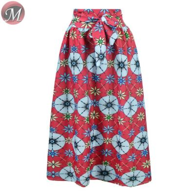 D908103 wholesale hot fashion casual beautiful flower print large skirt with a belt women pleated plus size long skirt