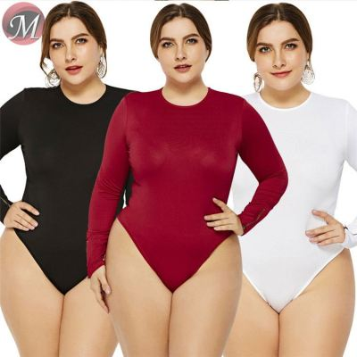D908107 hot onsale fashion round neck long sleeve sexy new design solid color plus size women sexy tops bodysuit
