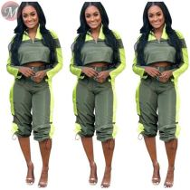 9082821 fashionable casual long sleeve splice loose sports clothes women two piece set