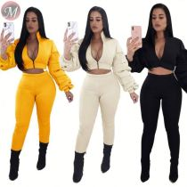 9082820 2019 sexy fashion solid Bubble sleeves thickening clothing set women autumn two piece