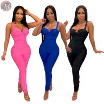 9082806 fashion casual solid color bodycon shoulder-strap sexy one piece womens jumpsuit 2019