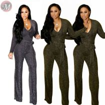 9082912 wholesale fashion solid metal color hot stamping long pants club wear 2019 women jumpsuits and rompers