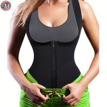 S908069 newest design ultra sweat sports fitness black button zip sexy latex clothing waist training vest