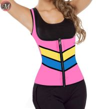 S908067 fashion sexy color patchwork zipper up sports waist trainer neoprene ladies body shaper slimming vest