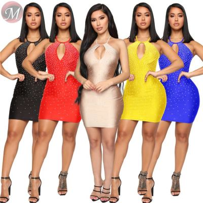 9082926 fashionable 2019 night club solid sexy sleeveless V-neck bodycon woman fashion solid mini dress with rhinestones