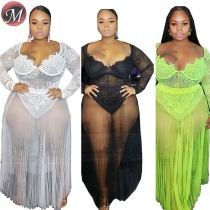 D909008 latest design V neck hollow out lace night clubwear Two Piece Dress women sexy plus size skirt