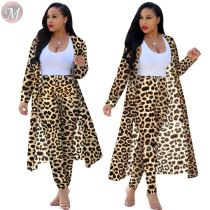 9090231 fashion new leopard print long sleeve cardigan pants women autumn 2 piece set clothing
