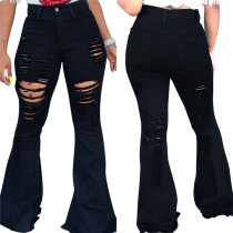 9062703 woman good quality clothing latest design 2019 fashion streetwear black washed ripped flared pants jeans for lady