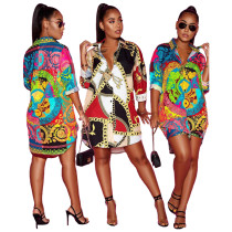 9082011 queenmoen new design digital print long style button casual long sleeve woman print shirt dress