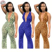 9090531 2019 sexy backless halter leopard flared mesh transparent women printed sexy skinny jumpsuit