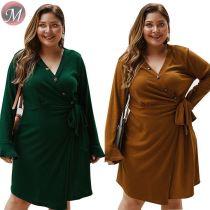 D909012 wholesale solid color long sleeve button rib fabric plus-size women autumn dress
