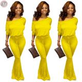 9091013 best seller solid drawstring casual one piece long sleeve fashion trending ladies jumpsuit