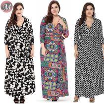 D909015 new turndown collar three-quarter sleeve lady plus size big casual dress for fat woman