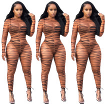 9090905 newest design mesh net stripe print women long sleeve bodycon see through club wear jumpsuits
