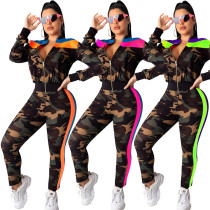 9091001 new style army camo print side stripe autumn 2019 women fashion jumpsuits suits set 2 pieces
