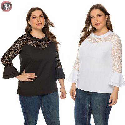 D909026 wholesale fashion solid color lace patchwork long sleeve loose 2019 plus size women top and blouses