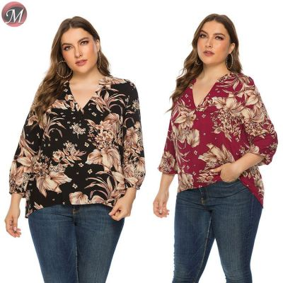 D909029 best seller floral print long back short front long sleeve clothes plus size shirts for women