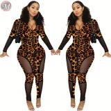 9091729 new design zip up mesh patchwork leopard womens trendy sexy bodycon rompers jumpsuits