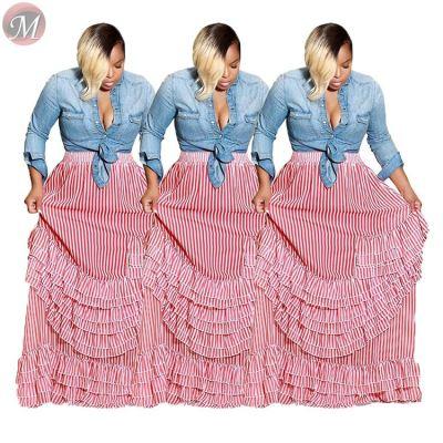 9091730 hot striped cascading ruffles maxi length ladies fashion clothing women long skirt