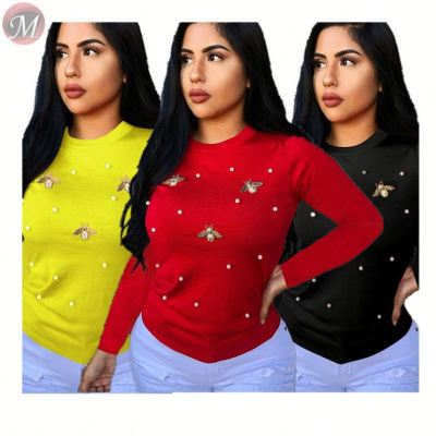 9091626 fashionable Autumn and winter long sleeve solid beading top women clothing casual blouse