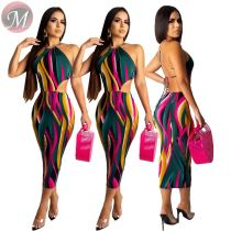 9081506 queenmoen best design fashion sexy sleeveless backless halter stripe print package hip women casual bodycon dress