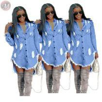 9092011 sexy button down ripped asymmetrical long sleeve women fashion blue mini denim dress