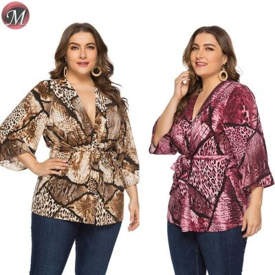 D909037 new fall and winter long sleeve Cardigan snakeskin print clothing women plus size blouse