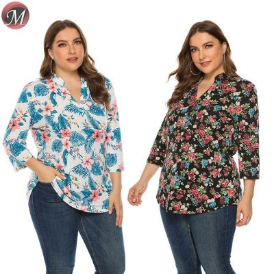D909040 latest design turn-down collar long sleeve floral print women plus size blouse