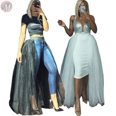 9092004 wholesale solid color mesh fabric A-line latest design 2019 fashion clothing long maxi skirt