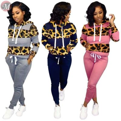 9091801 fashion sports leisure leopard stripe hooded women two piece outfits pant sets