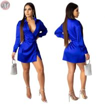 9091827 wholesale new solid color blue long sleeve slip sexy women bodycon club mini dress