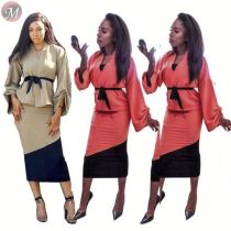 9091814 newest design full loose sleeve patchwork pencil long skirt 2 piece set women clothing