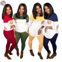 9091820 good quality contrast color stitching patch autumn two piece pants suit set women clothing