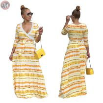 9091824 lowest price v-neck gradient cross stripe latest designer women casual maxi dress