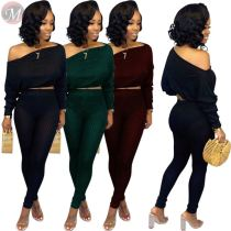 9092003 new style autumn solid color sloping shoulder casual women two piece pants suits set
