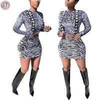 9091817 wholesale price long sleeve leopard top zabra stripe suspender skirt women clothing two piece short skirt set
