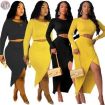 9091815 2019 sexy solid slit skirt long sleeve autumn dress two piece outfits set women clothing