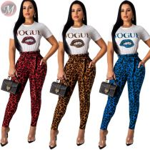 9091919 hot selling lip pattern leopard printed t-shirt 2019 women clothing two piece sets
