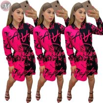 9091909 fashion sexy color contrasting letter print long shirt long sleeve women casual mini dress