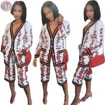 9091923 new stylish flower print button coat knee length women fashion two piece sets
