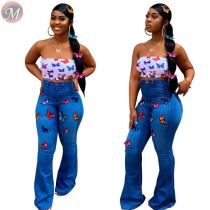 9091903 sexy stretch butterfly embroidery hot drilled high waist pants women jeans