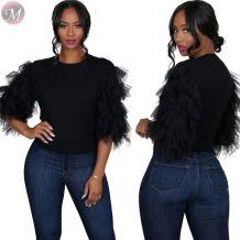 9091615 best seller solid color round neck mesh women clothing black T-shirt