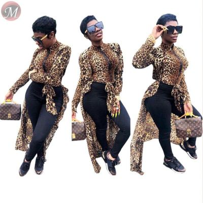 9091618 hot sale leopard print long sleeve After short before long sexy women clothing fashion blouse
