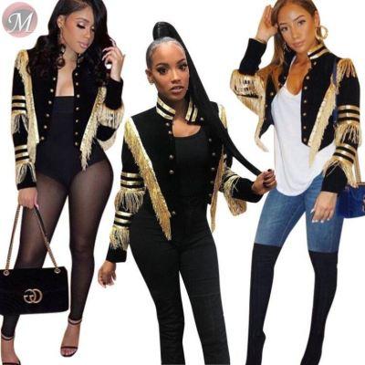 9091707 wholesale fashion long sleeve strap tassel spliced short women fashion clothing coat jacket