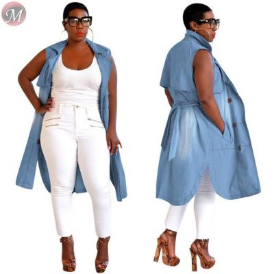 9091819 design fashion sleeveless washed casual long denim women good quality coat ladies clothing