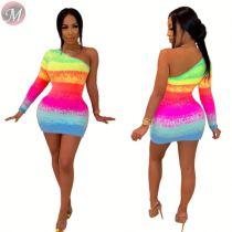 9091904 wholesale fashion one shoulder gradient color slimming sexy bodycon ladies women casual mini dress
