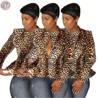 9092129 lowest price newest double collar slim leopard short fashion suit jacket clothing women outwear