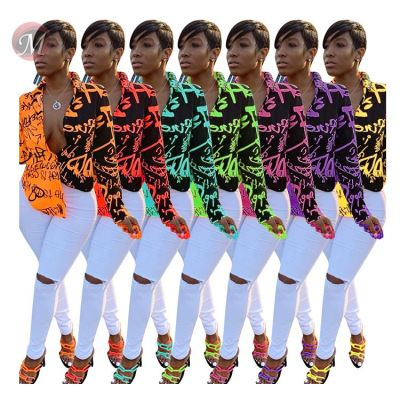 9092118 hot sale multicolor graffiti letter print shirt fashion clothing woman blouses and tops