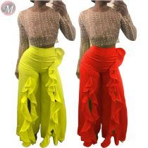 9092128 new casual solid ruffles edge open side autumn ladies women clothing wide leg pants